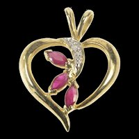 10K Syn. Ruby Diamond Wave Heart Anniversary Pendant Yellow Gold [QRXS]