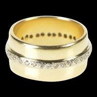 14K 1960's Diamond Stripped Statement Band Ring Size 5.25 Yellow Gold [QRXS]