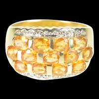 14K Citrine Tiered Row Diamond Statement Band Ring Size 7 Yellow Gold [QRXS]