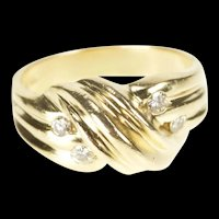 14K Diamond Grooved Wave Statement Band Ring Size 7.25 Yellow Gold [QRXS]