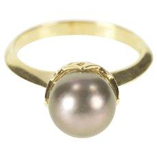 14K Decorative Set Tahitian Pearl Engagement Ring Size 6 Yellow Gold [CXXC]