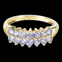 14K Tiered Tanzanite Encrusted Statement Band Ring Size 7 Yellow Gold [QRXS]