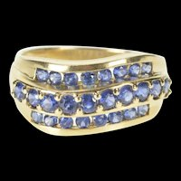 14K Sapphire Tiered Wavy Channel Statement Band Ring Size 8.25 Yellow Gold [QRXS]