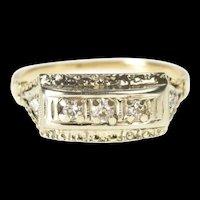 10K Retro Diamond Squared Statement Band Ring Size 5.75 Yellow Gold [QRXS]
