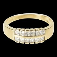 10K Tiered Princess Cubic Zirconia Statement Band Ring Size 8.75 Yellow Gold [QRXS]