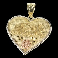 10K Ornate Mom Rose Design Heart Mothers Day Pendant Yellow Gold [QRXS]
