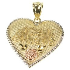 10K Ornate Mom Rose Design Heart Mothers Day Pendant Yellow Gold [QRQQ]