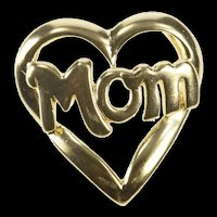 10K Mom Heart Love Message Mother's Day Charm/Pendant Yellow Gold [QRXS]