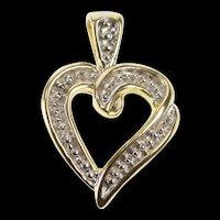 10K Two Tone Dot Pattern Heart Love Symbol Charm/Pendant Yellow Gold [QRXS]