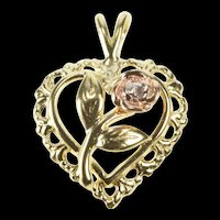 10K Rose Flower Two Tone Heart Romantic Love Charm/Pendant Yellow Gold [QRXS]