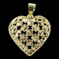 10K Lattice Pattern Heart Love Symbol Pendant Yellow Gold [QRXS]