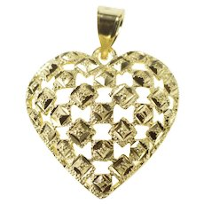 10K Lattice Pattern Heart Love Symbol Pendant Yellow Gold [QRQQ]