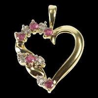10K Ruby Diamond Inset Heart Love Symbol Pendant Yellow Gold [QRXS]