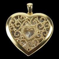 14K Two Tone Ornate Filigree Heart Love Symbol Pendant Yellow Gold [QRXS]