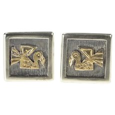 18K Peruvian Motif Bird Design Square Men's Cuff Links White Gold [QRQQ]