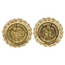 14K Mexican Cinco Pesos Coin Rope Trim Cuff Links Yellow Gold [QRQQ]