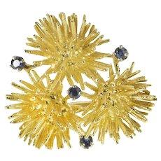 14K 3D Sea Urchine Sapphire Cluster Pin/Brooch Yellow Gold [QRQQ]