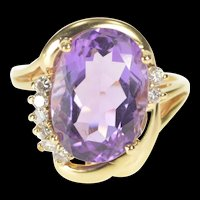 14K Amethyst Diamond Accent Statement Cocktail Ring Size 6 Yellow Gold [QRXS]