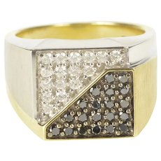10K Pave Squared Men's Diamond Yin Yang Two Tone Ring Size 11 Yellow Gold [QRQQ]