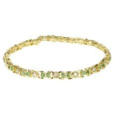 "14K Ornate Emerald Diamond Encrusted Bracelet 7.25"" Yellow Gold [QRQQ]"