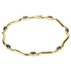 "14K Oval Sapphire Diamond Accent Wavy Link Bracelet 7.25"" Yellow Gold [QRQQ]"