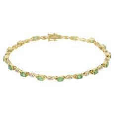 "14K 3.30 Ctw Oval Emerald Diamond Accent Bracelet 7.5"" Yellow Gold [QRQQ]"