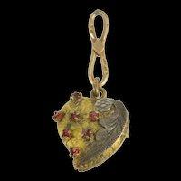 Gold Filled Victorian Enamel Puffy Heart Sim. Garnet Charm/Pendant  [QRXS]