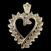 10K Two Tone Burst Design Heart Love Anniversary Pendant Yellow Gold [QRXS]