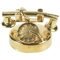 10K 3D Rotary Dial Telephone Phone Charm/Pendant Yellow Gold [QRXP]