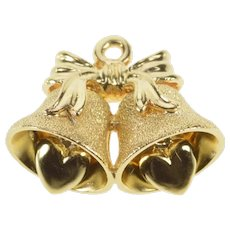 14K 3D Wedding Bell Just Married Heart Charm/Pendant Yellow Gold [QRXP]