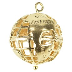 14K 3D Globe Cage Earth World Map Charm/Pendant Yellow Gold [QRXP]