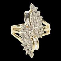 10K 0.25 Ctw Diamond Freeform Cluster Statement Ring Size 6 Yellow Gold [QRXP]