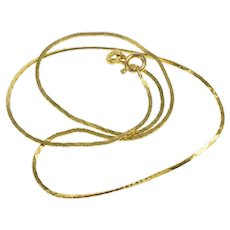 """14K 1.1mm Squared Retro Flat Link Chain Necklace 14.5"""" Yellow Gold [QRQQ]"""