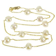 "14K Pearl Beaded Cable Link Classic Statement Necklace 16"" Yellow Gold [QRQQ]"