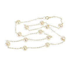 "14K Pearl Beaded Statement Cable Chain Link Necklace 18"" Yellow Gold [QRXP]"