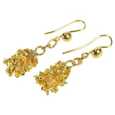 22K 3D Textured Nugget Cluster Dangle Hook Back Earrings Yellow Gold [QRXP]