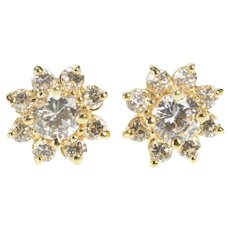 14K Round Floral Star Cluster Statement Stud Earrings Yellow Gold [QRQC]