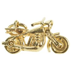 14K 3D Articulated Motorcycle Chopper Bike Biker Charm/Pendant Yellow Gold [QRXP]