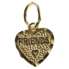 14K Friends Inscribed Heart Friendship Charm/Pendant Yellow Gold [QRQC]