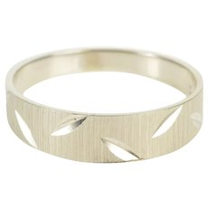 10K Graduated Grooved Men's Wedding Band Ring Size 11.75 White Gold [QRQC]