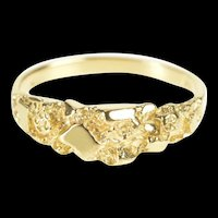 14K Textured Nugget Abstract Cluster Band Ring Size 7.25 Yellow Gold [QRXP]