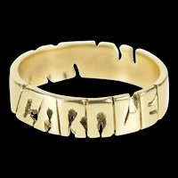 10K Carole Name Cut Out Statement Band Ring Size 8.5 Yellow Gold [QRXP]