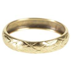 10K 4.4mm Lattice Checkered Pattern Wedding Band Ring Size 8.75 Yellow Gold [QRXP]