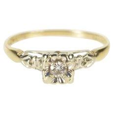 14K Retro Two Tone Diamond Floral Promise Ring Size 6.25 Yellow Gold [QRQC]