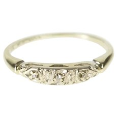 14K Retro Diamond Ornate Classic Wedding Band Ring Size 4.75 White Gold [QRQC]