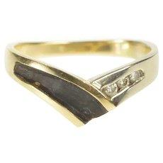14K Diamond Black Enamel Chevron Midi Statement Ring Size 3.75 Yellow Gold [QRQC]