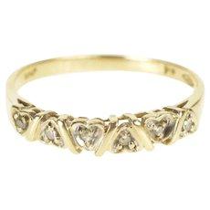 10K Diamond Inset Heart Pattern Wedding Band Ring Size 6.5 Yellow Gold [QRQC]