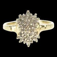 10K Fancy Diamond Cluster Statement Ring Size 6.5 Yellow Gold [QRXP]