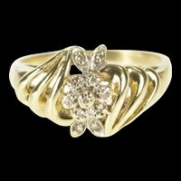 10K Floral Diamond Cluster Wavy Statement Ring Size 6 Yellow Gold [QRXP]