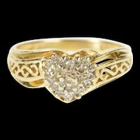 10K Diamond Heart Cluster Valentine Anniversary Ring Size 6.75 Yellow Gold [QRXP]